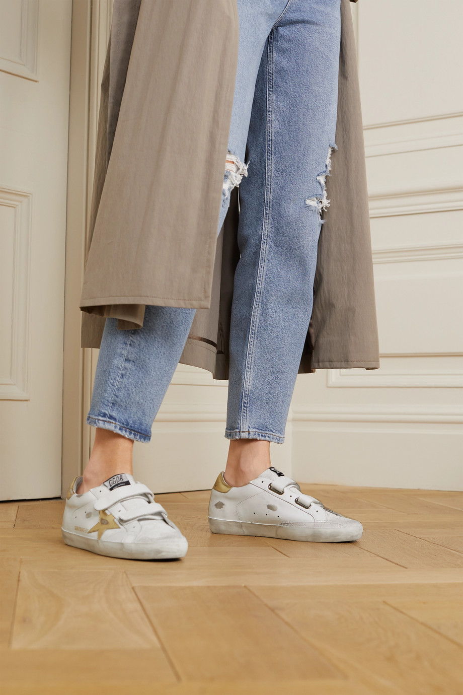 Golden Goose Old School distressed leather sneakers
