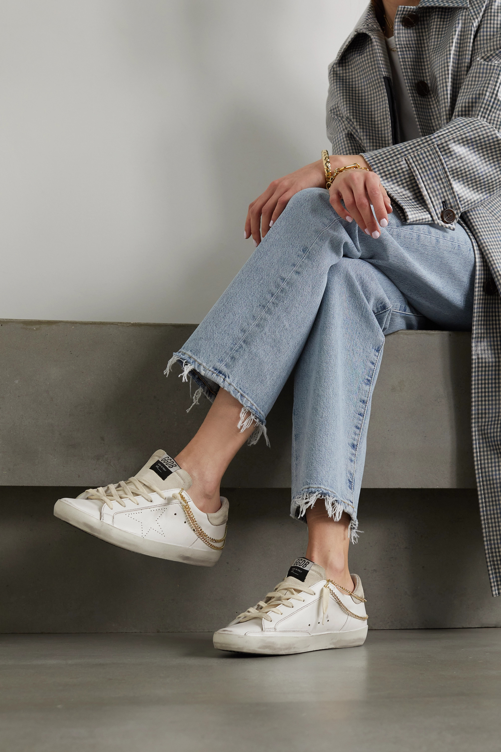 Golden Goose Superstar chain-embellished distressed leather and suede sneakers