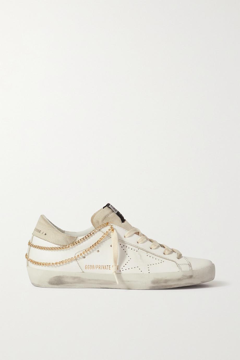 Golden Goose Superstar Sneakers aus Leder und Veloursleder mit Ketten in Distressed-Optik