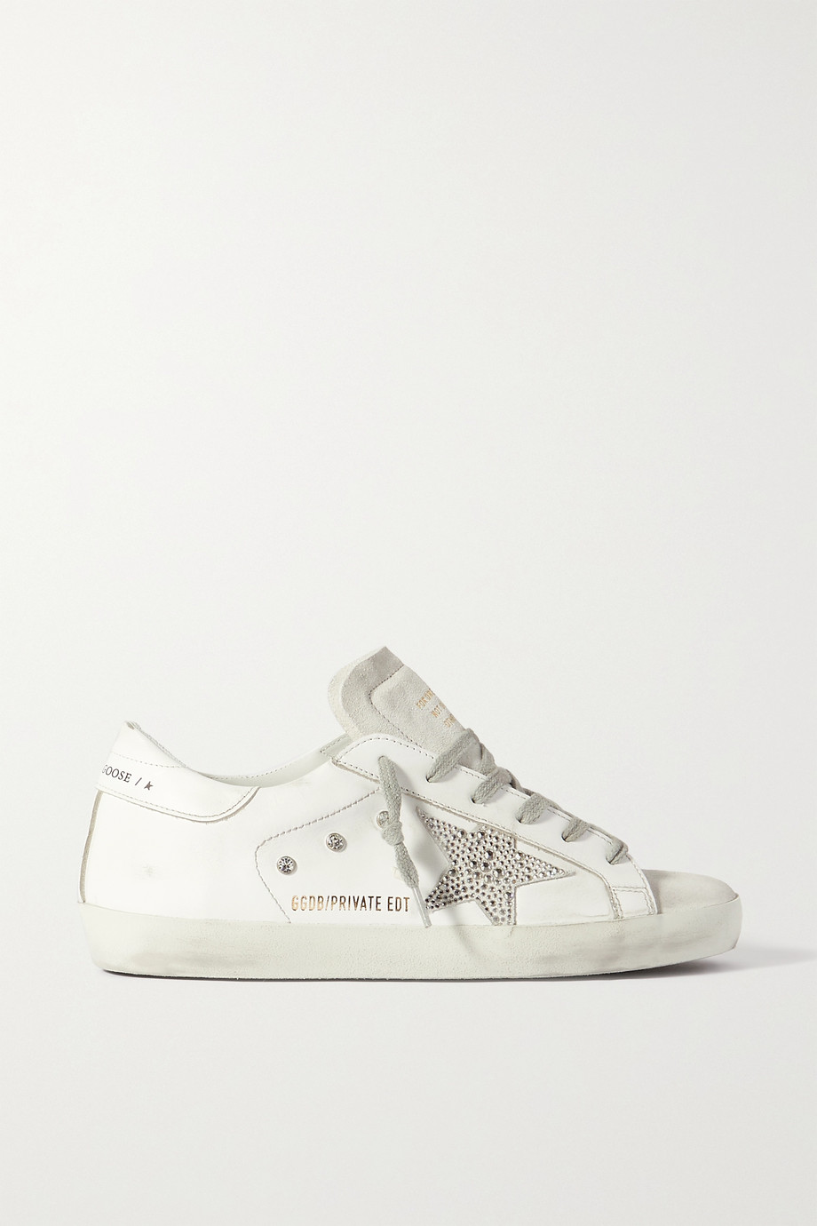 Golden Goose Superstar crystal-embellished distressed leather and suede sneakers