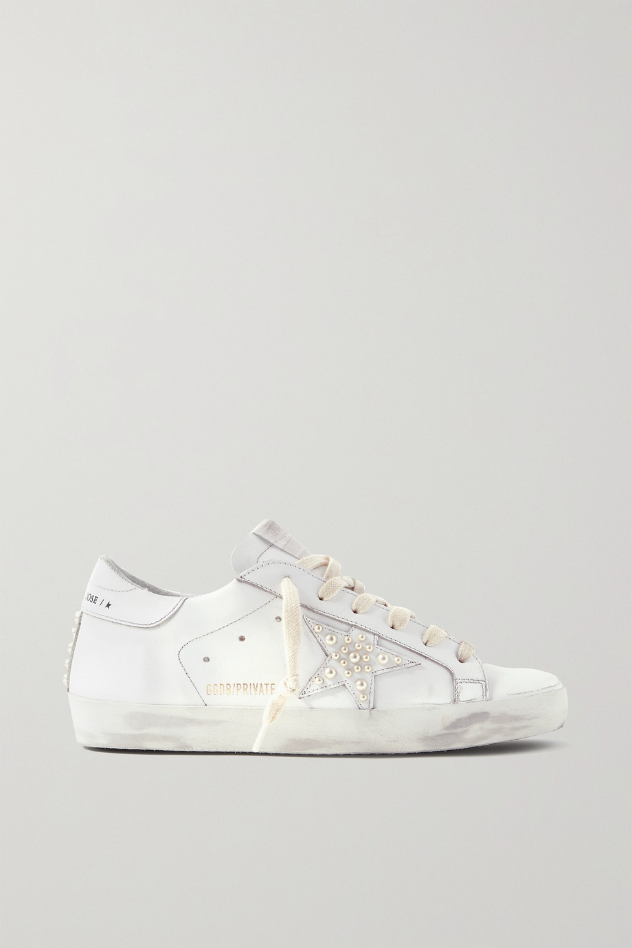 Golden Goose Superstar faux pearl-embellished distressed leather sneakers