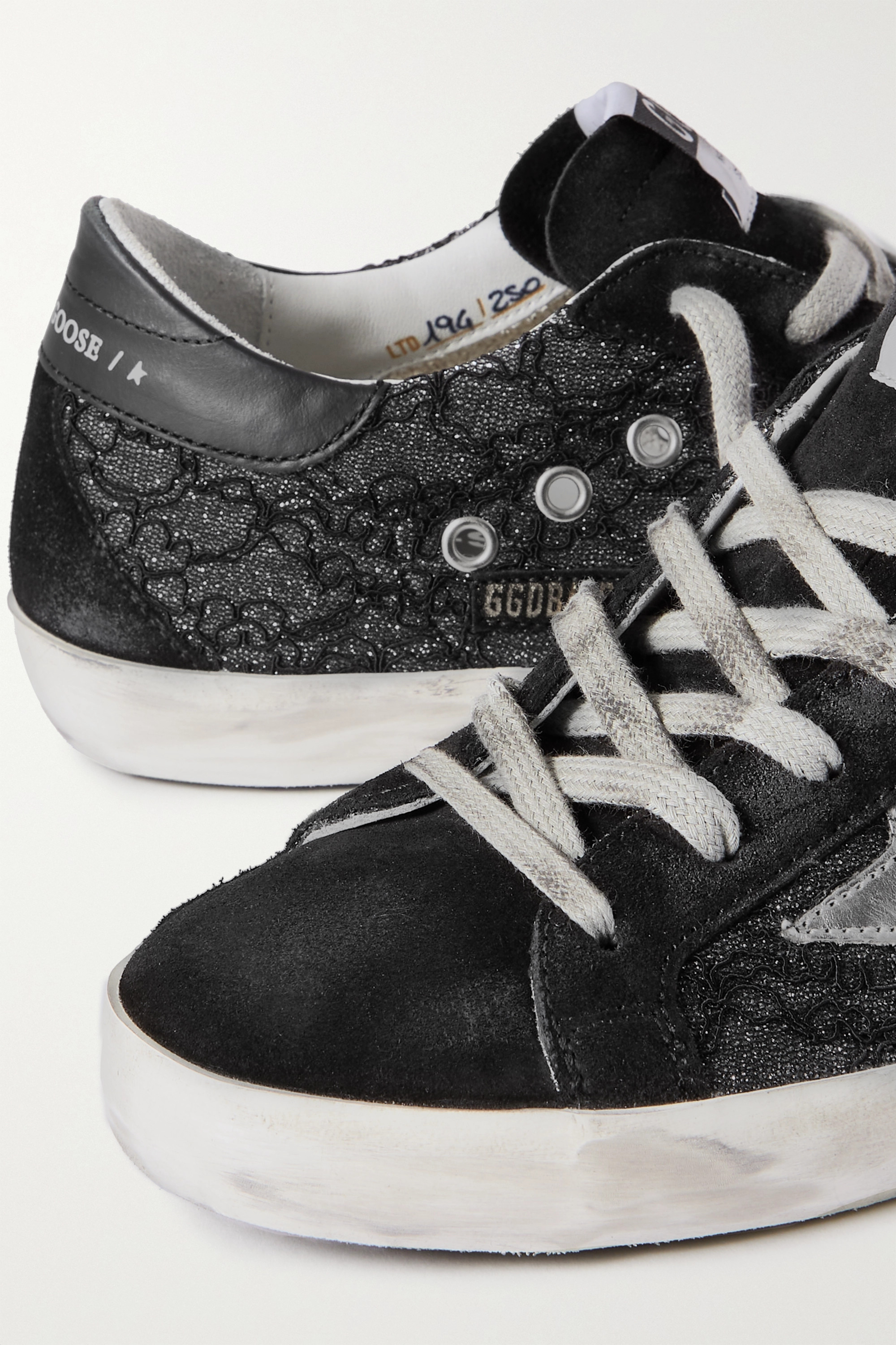 Golden Goose Superstar distressed suede, leather and glittered lace sneakers