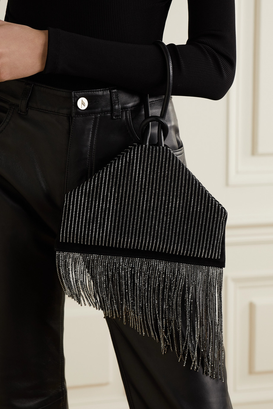 Christian Louboutin Berlinguinio leather-trimmed crystal-embellished suede clutch