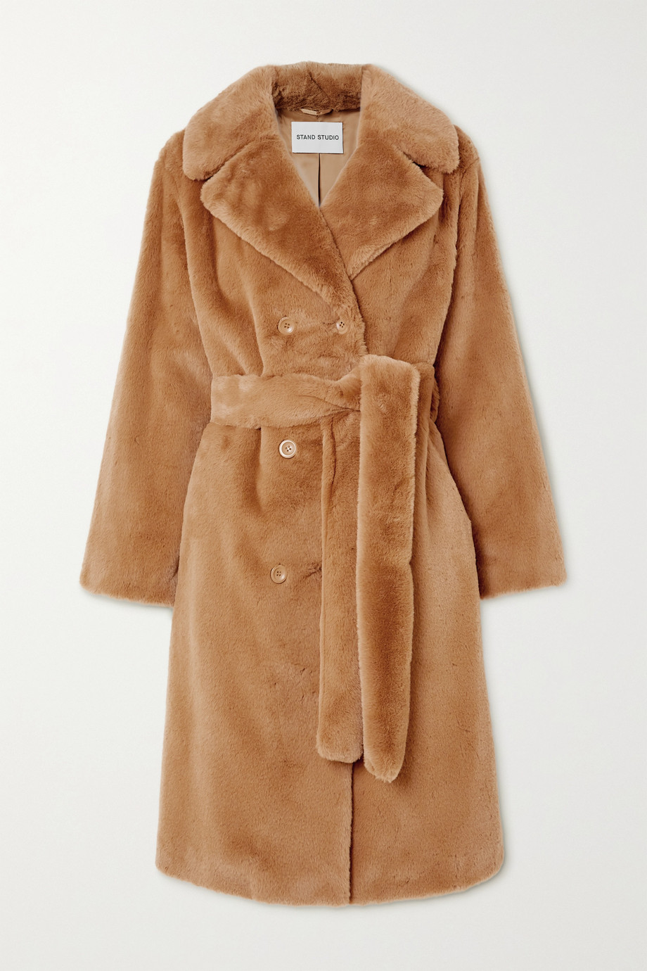 Stand Studio Faustine belted double-breasted faux fur coat
