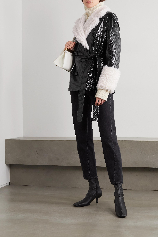 Stand Studio Veste en cuir synthétique verni texturé et en peau lainée synthétique à ceinture Harmony