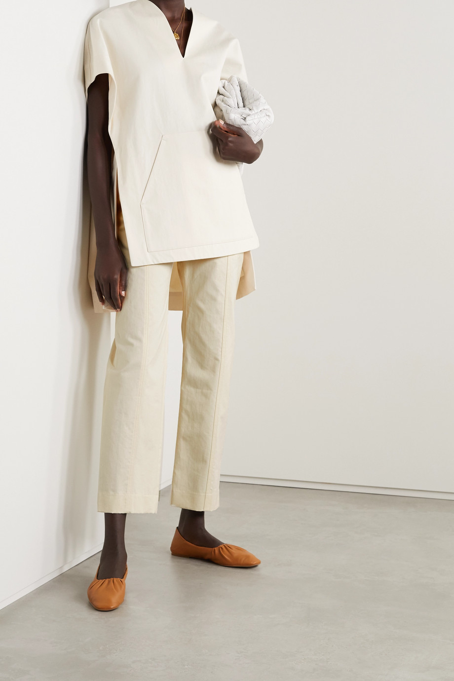 Deveaux Pantalon droit en serge de coton Judi