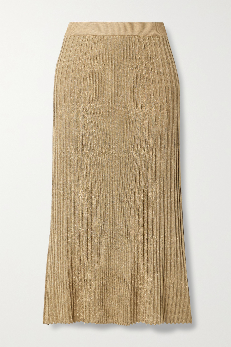 By Malene Birger Orista metallic ribbed-knit midi skirt