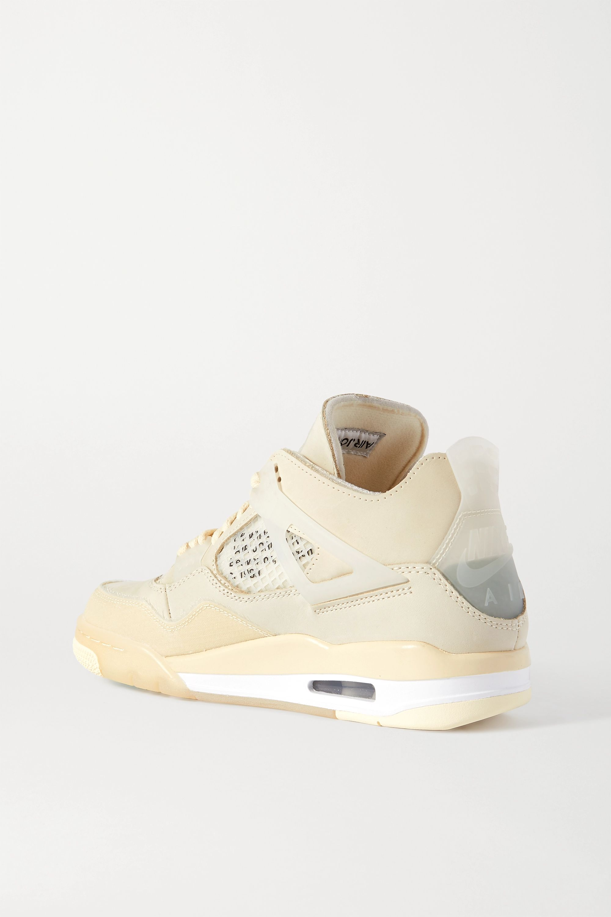 Beige + Off-white Air Jordan 4 High Suede-trimmed Tech-canvas Mesh And Rubber Sneakers | Nike