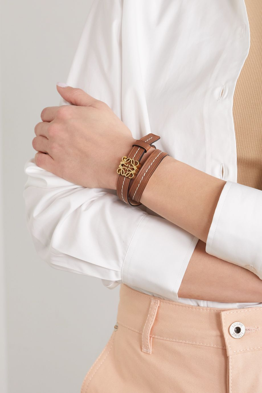 Loewe Anagram embellished leather bracelet