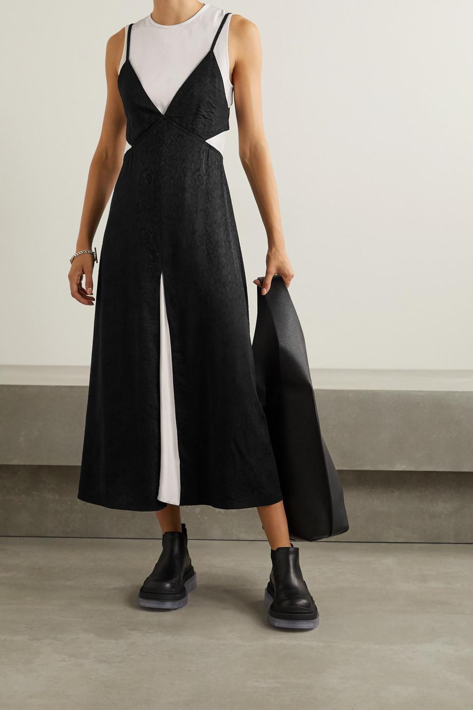 Proenza Schouler White Label Layered satin-jacquard and crepe midi dress