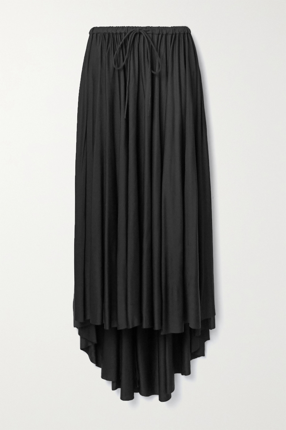 Proenza Schouler White Label Asymmetric gathered satin-jersey midi skirt