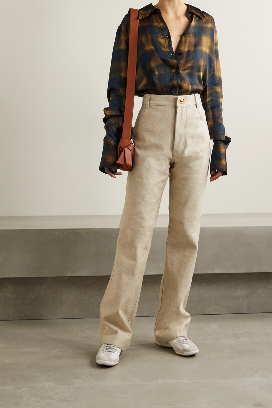 Proenza Schouler White Label Checked hammered-satin shirt