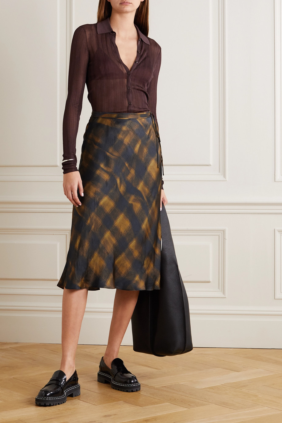 Proenza Schouler White Label Checked hammered-satin midi skirt