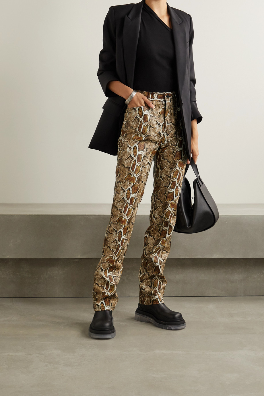 Proenza Schouler White Label Snake-effect faux leather straight-leg pants
