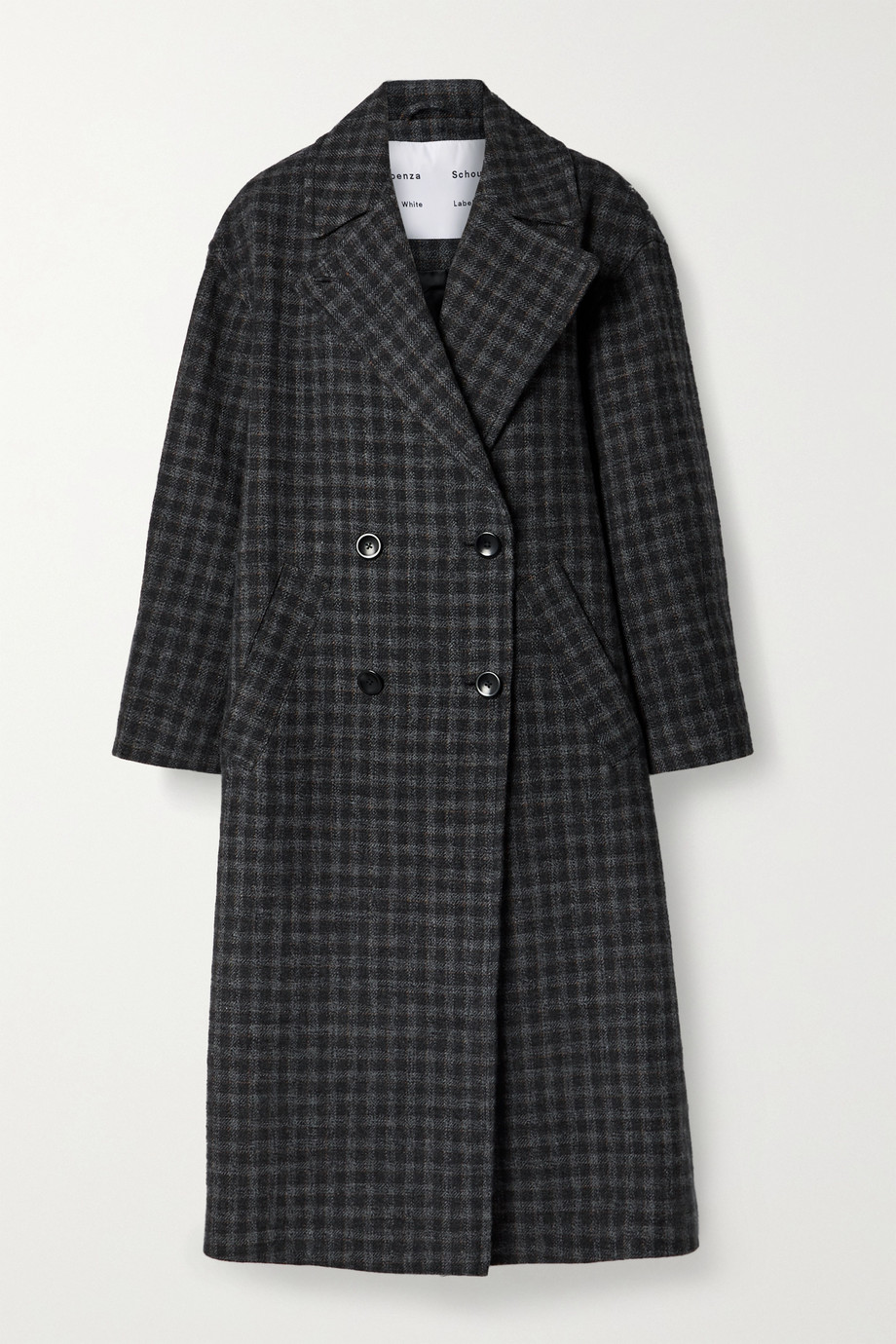 Proenza Schouler White Label Double-breasted checked wool and cotton-blend coat