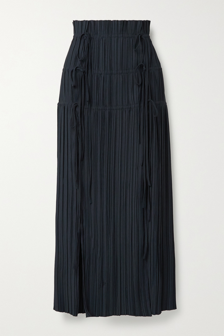 Dion Lee Tie-detailed plissé-crepe maxi skirt
