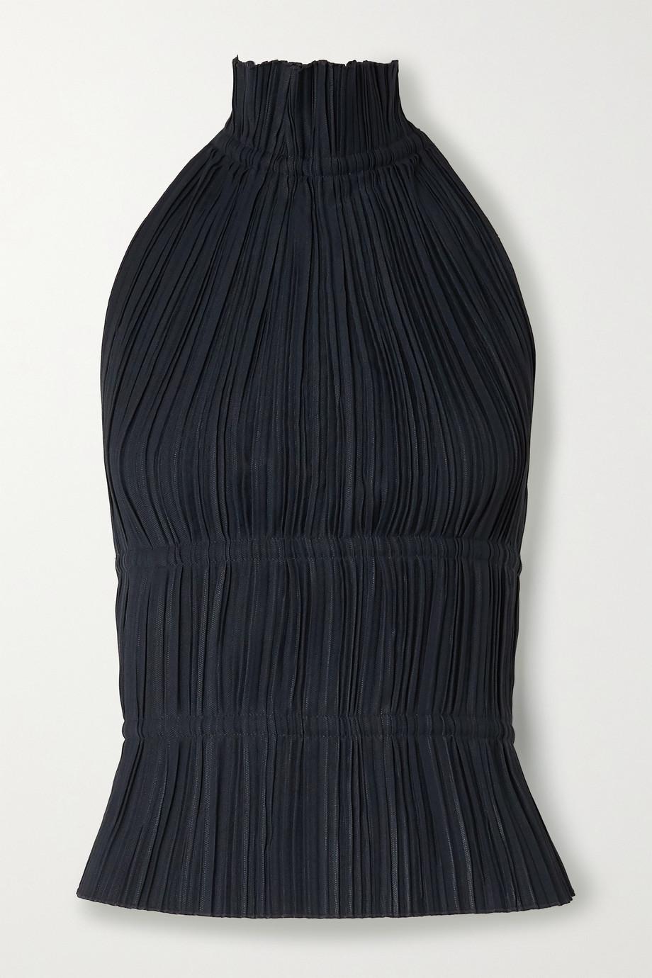 Dion Lee Open-back plissé-crepe halterneck top