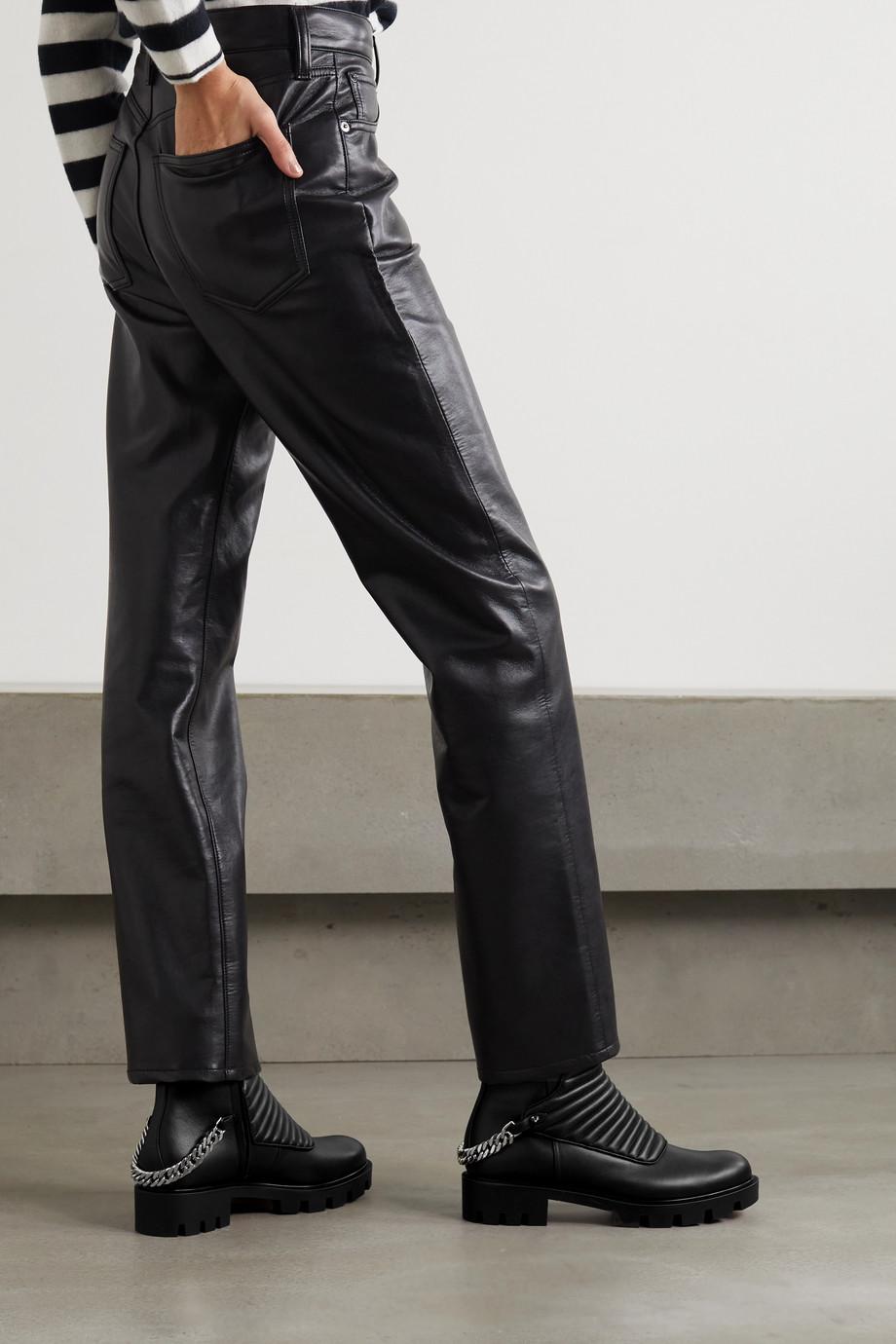 Christian Louboutin Maddic Max Ankle Boots aus gestepptem Leder mit Kette