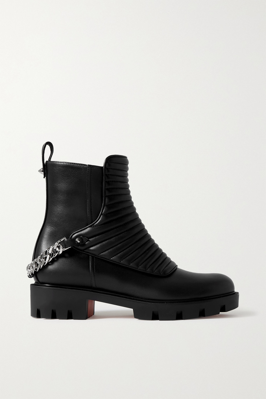 Christian Louboutin Maddic Max chain-embellished quilted leather ankle boots