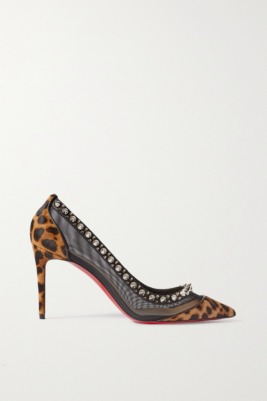 Christian Louboutin Galatavi Spikes leather-trimmed leopard-print calf hair and mesh pumps
