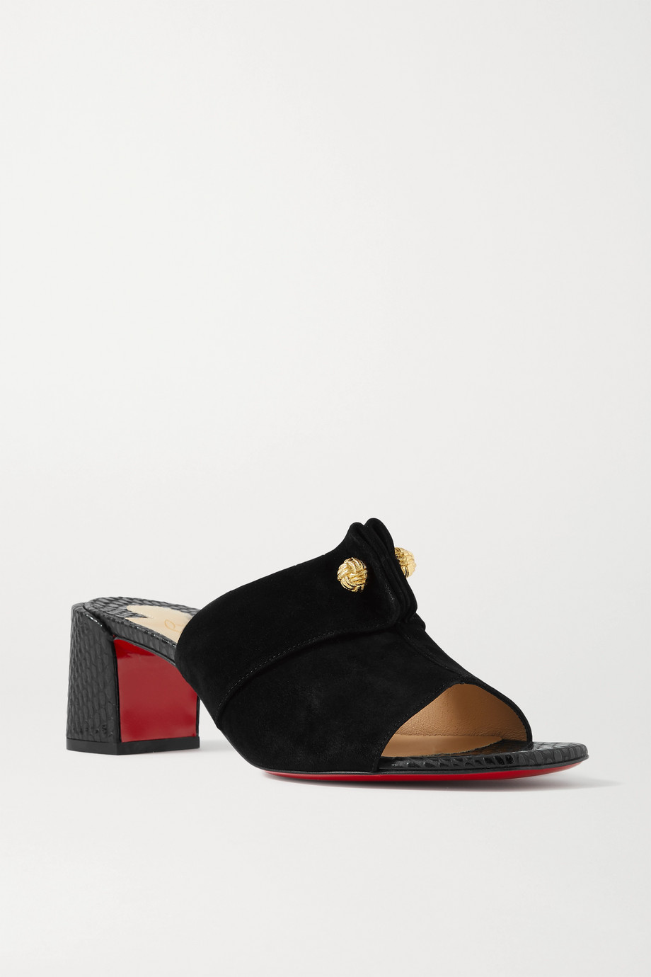 Christian Louboutin Stanislove 55 suede and lizard-effect leather mules