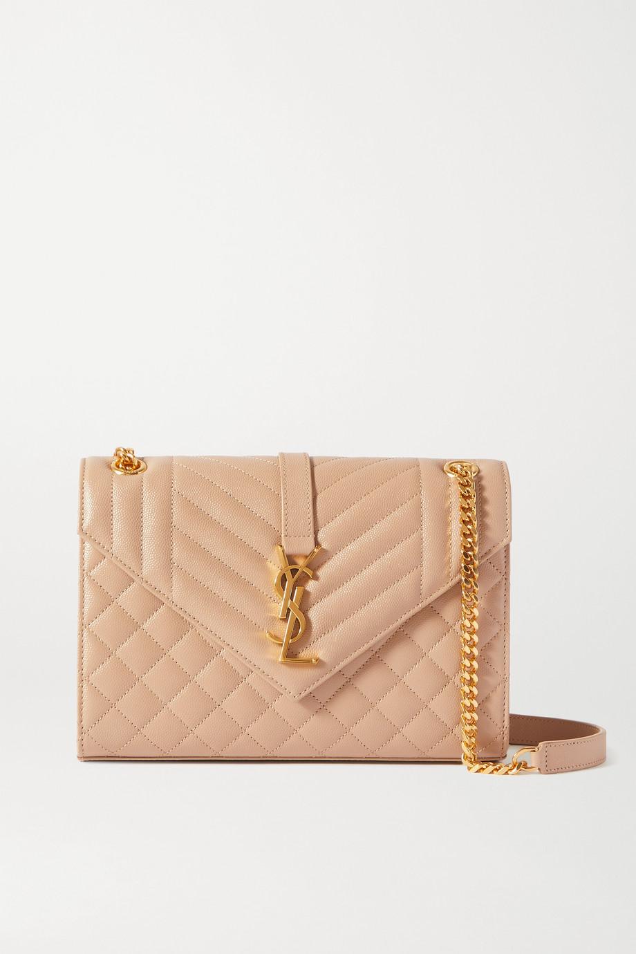 SAINT LAURENT Envelope medium quilted textured-leather shoulder bag