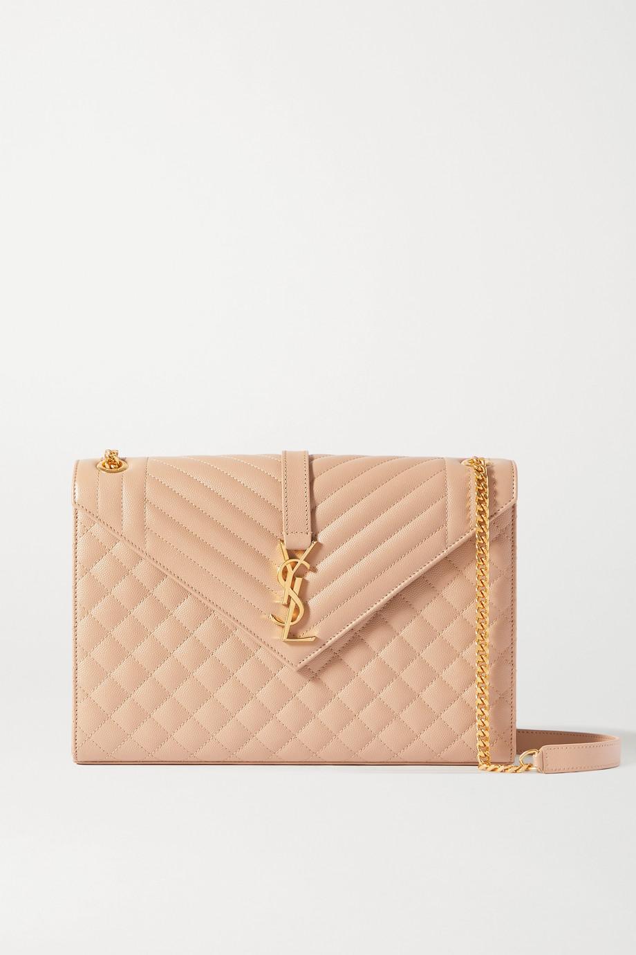 SAINT LAURENT Envelope large quilted textured-leather shoulder bag