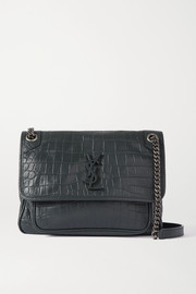 SAINT LAURENT Niki medium croc-effect leather shoulder bag