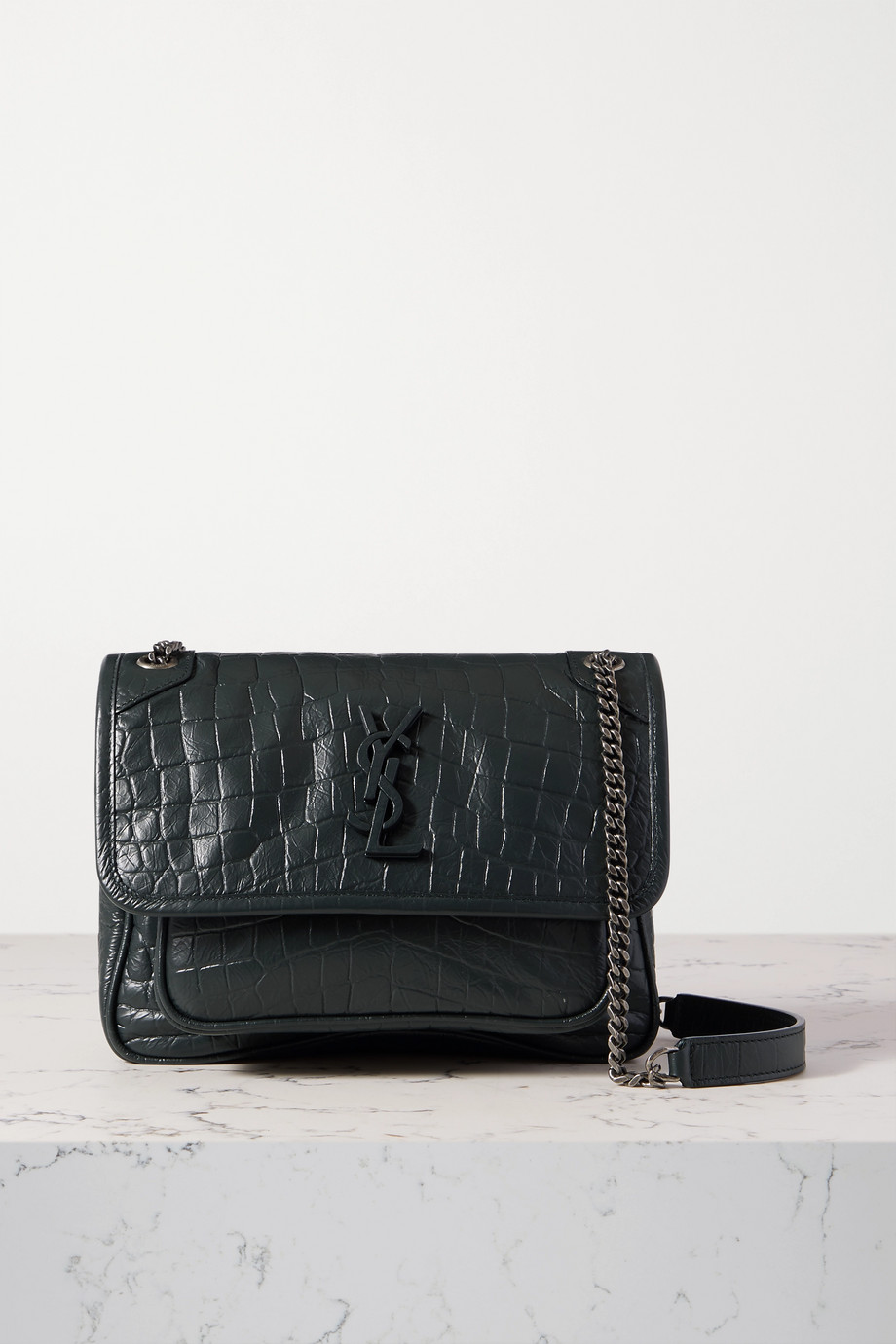 SAINT LAURENT Niki Baby mini crinkled croc-effect leather shoulder bag