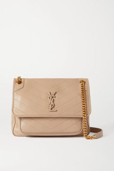 SAINT LAURENT - Niki Medium Quilted Leather Shoulder Bag - Beige