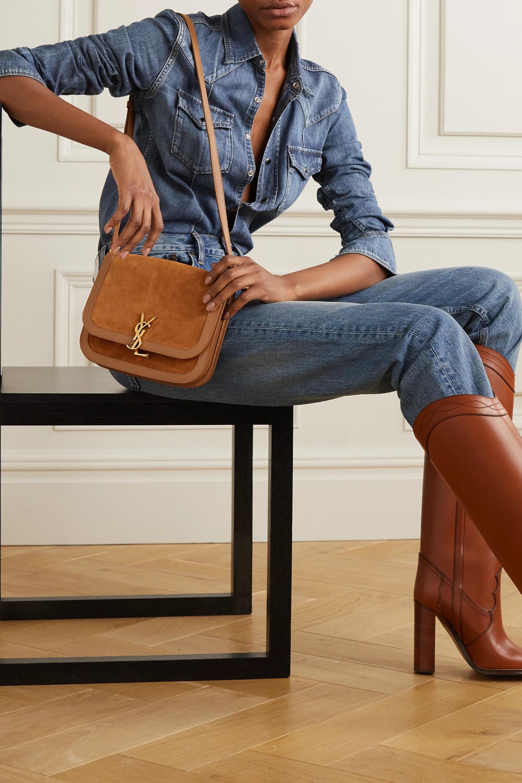 SAINT LAURENT Solferino medium leather-trimmed suede shoulder bag