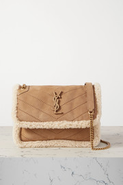 SAINT LAURENT Niki Baby mini shearling-trimmed nubuck shoulder bag