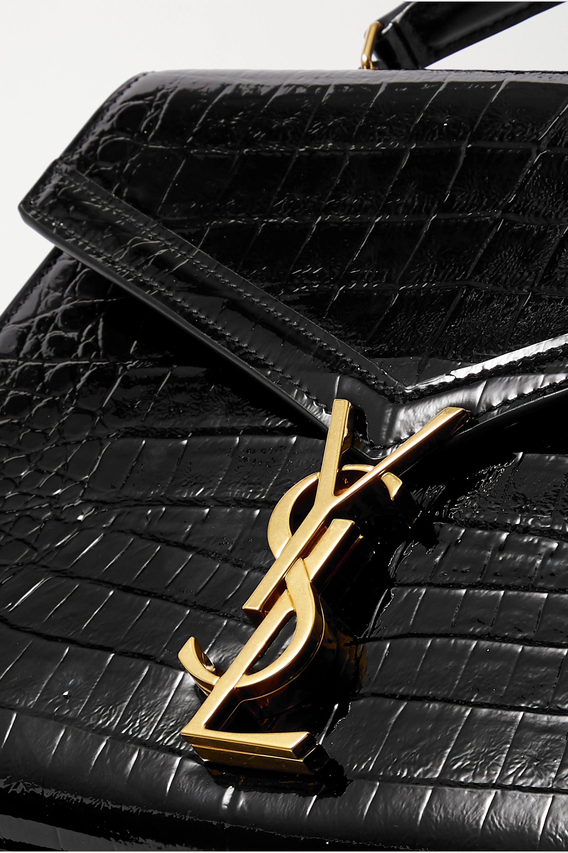 SAINT LAURENT Cassandra medium croc-effect leather tote