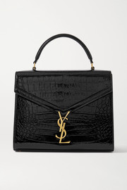 SAINT LAURENT Cassandra medium croc-effect leather tote