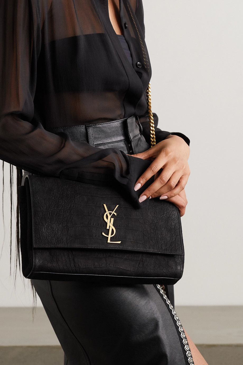 SAINT LAURENT Kate medium croc-effect suede shoulder bag