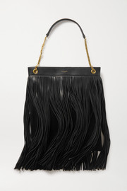 SAINT LAURENT Grace large fringed leather and suede shoulder bag