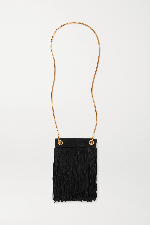 SAINT LAURENT Grace fringed leather-trimmed suede shoulder bag