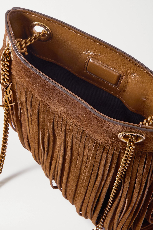 SAINT LAURENT Grace small leather-trimmed fringed suede shoulder bag