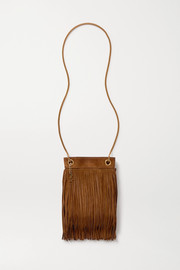 SAINT LAURENT Grace small leather-trimmed fringed suede shoulder bag