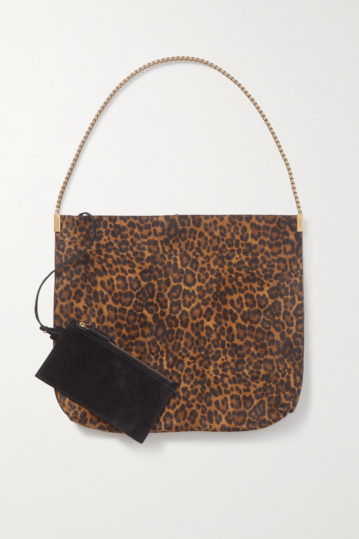 SAINT LAURENT Suzanne medium leopard-print suede shoulder bag