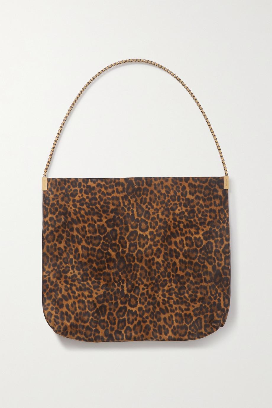 SAINT LAURENT Suzanne mittelgroße Schultertasche aus Veloursleder mit Leopardenprint