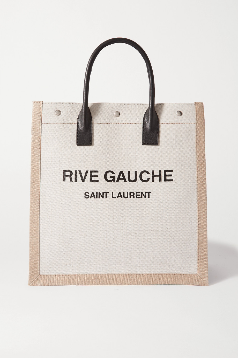 SAINT LAURENT Noe leather-trimmed printed canvas tote