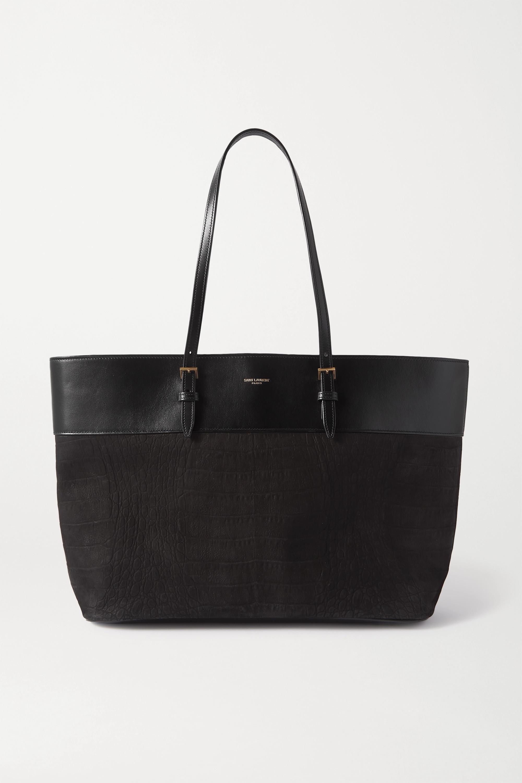 SAINT LAURENT Medium leather-trimmed croc-effect suede tote