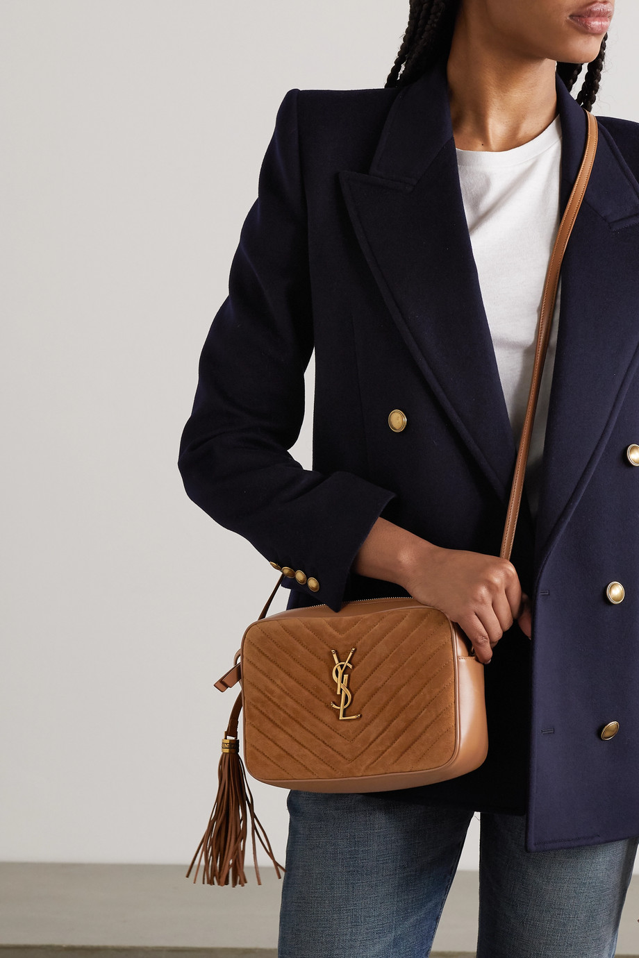 SAINT LAURENT Lou mini quilted suede and leather shoulder bag