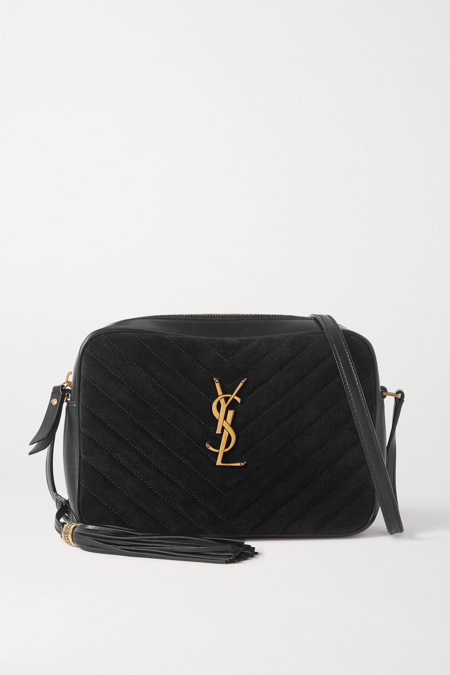 생 로랑 루 카메라백 - 퀼팅스웨이드/블랙 Saint Laurent Lou quilted suede and leather shoulder bag,Black