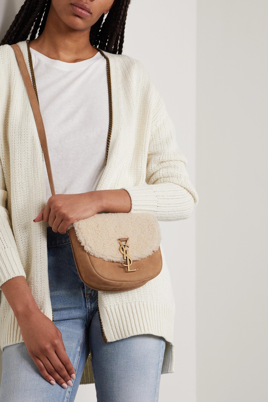 SAINT LAURENT Kate mini suede and shearling shoulder bag