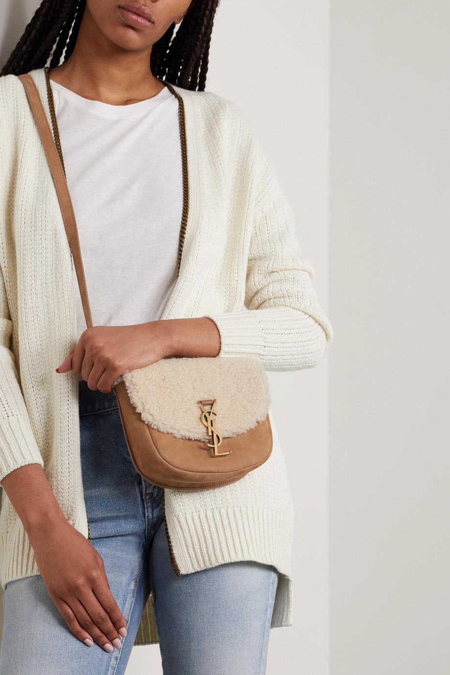 SAINT LAURENT Sac porté épaule en daim et en peau lainée Kate Mini