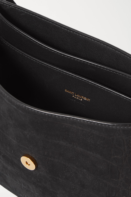 SAINT LAURENT Kaia medium leather-trimmed croc-effect suede shoulder bag