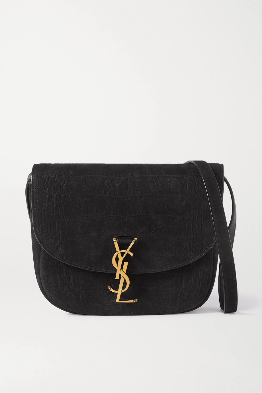 SAINT LAURENT Kaia medium leather-trimmed croc-effect suede shoulder bag