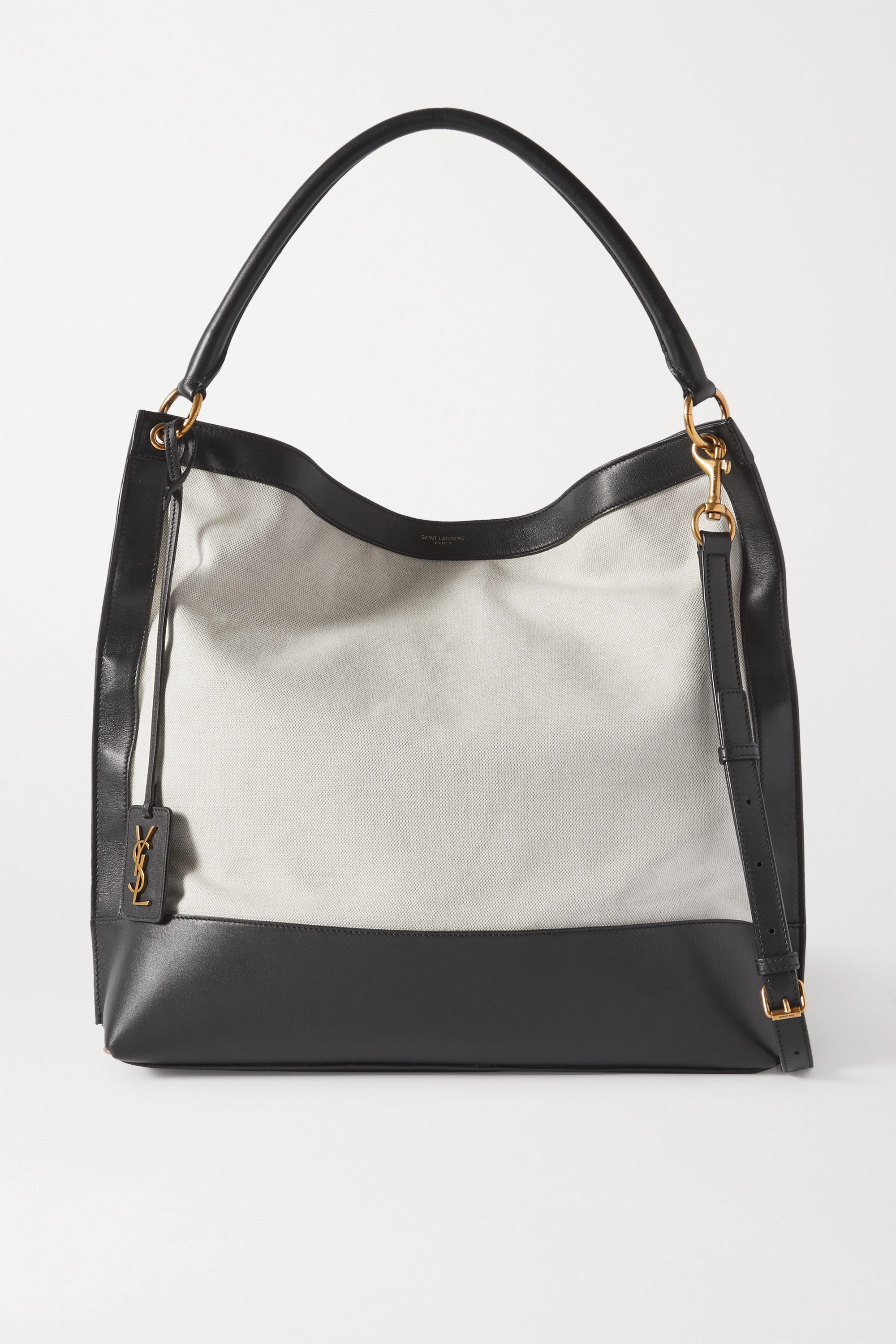 SAINT LAURENT Tag leather and canvas tote